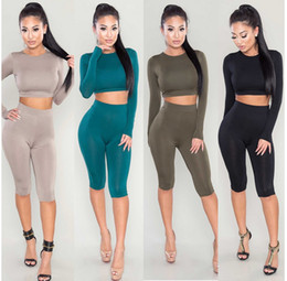 Wholesale Catsuit Jumpsuits Dresses - Summer Women Sexy Long Sleeve Jumpsuit Solid bodycon Tunic Rompers Jumpsuit Catsuit Crop top tight pants yoga clothes night club dress