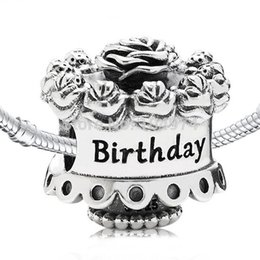 Wholesale Pandora Snake - Wholesale Flower Birthday Cake Charm 925 Sterling Silver European Floating Charms Bead Fit Pandora Snake Chain Bracelets DIY Jewelry 112
