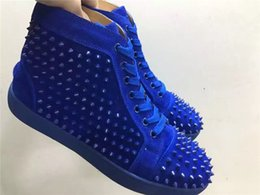 Wholesale Top Sport Shoes Designer Brands - 2016 Fashion Brand Designer Men and Women's Blue Matter Leather with Spikes High Top Sneakers Hot sale Matt Leather Causal Sports Shoes