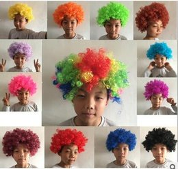 Wholesale Wigs Boy - 2016 Clown Wig Party Wigs Masquerade Halloween Christmas Explosion Head Colorful Ball fan Wigs For Kids Carnival Party Wigs