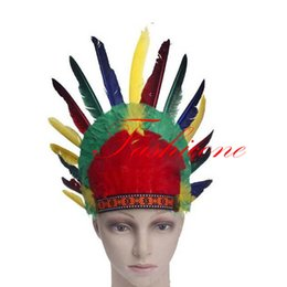 Wholesale Native Indian Costumes - Wholesale-EMS free shipping   New Headdress Warbonnet Kit Feather War Bonnet Indian Native American Decor