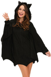 Wholesale Erotic Role Play Costumes - Adult Halloween Cosplay Dress O-Neck Sleeved Role Play Fantasias Carnival Bat Costume Lingerie Erotic Party Club Costume 8978
