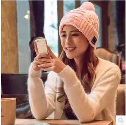 Wholesale Women Winter Hat Headgear - Hot Men Women Soft Winter Beanie Hats Wireless Bluetooth Smart Cap Headphone Headset Speaker Mic Headgear Knitted Cap More Colour