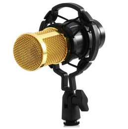 Wholesale High Quality Radio Sound - Black High Quality Professional 3.5mm Wired BM-800 Condenser Sound Recording Microphone with Shock Mount for Radio Braodcasting