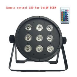 Wholesale Led Lighting Matrix - Disco Ball Remote control 9x12W RGBW 4in1 Matrix Wash Lighting LED stage light lamps Flat SlimPar Quad Can With DMX512 Flat DJ Equipments