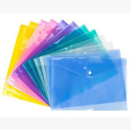 Wholesale Transparent File Bag - A4 File Folder Transparent Plastic Document Bag Hasp Button Classified Storage Stationery Bag File Holder CCA7684 600pcs