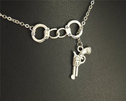 Wholesale Freedom Alloys - Wholesale- 1pc Antique Silver Alloy Freedom Handcuff Gun Pendant Necklace Handmade Jewelry Gifts E498