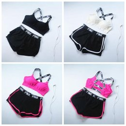 Wholesale Cotton Pants Bra - 3 Colors PINK Tracksuit Women Sportswear Yoga Suit Fitness Bra Shorts Gym Top Vest Pants Running Underwear Sets 2pcs set CCA7379 20set