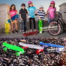 "Wholesale Transparent Cruiser Board - Wholesale-New Peny Style Skate Board Skateboard led lights Complete 22"" Retro Cruiser mini longboard With Transparent Wheels alloy wheels"