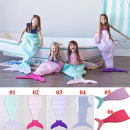 Wholesale Double Kids Sofa - Double Layer Kids Mermaid Sleeping Bags Mermaid Tail Blankets Shark Blankets Cocoon Mattress Sofa Bedroom Blankets Camping Travel Blankets