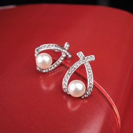 Wholesale Manufacturer Plant - New south Korean version of the joker elegant temperament cross diamond pearl earrings manufacturers selling