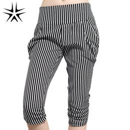 Wholesale Woman Harem Short - Wholesale-2016 New Large Size L-5XL Lady Classic Short Striped Harem Pants Super Fashion Women Thin Desire Capris