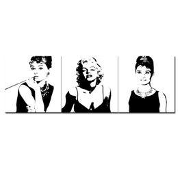 Art de la toile marilyn monroe en Ligne-3 panneau de mur de toile Art classique Marilyn Monroe et Audrey Hepburn photo peinture imprime moderne décorations pour la maison Stretch Cadres encadrés
