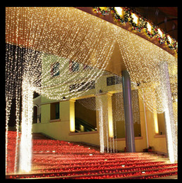 Wholesale led waterfall curtain lights - 6m x 3m Led Waterfall Outdoor Fairy String light Christmas Wedding Party Holiday Garden 600 LED Curtain Lights Decoration EU.US.uk au .plug