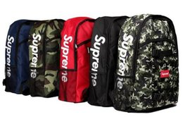 Wholesale Student Bags Woman - Superme fashion backpack women men canvas Backpack outdoor Riding travel bag hip-hop youth Teenager boy girls student backpack