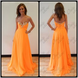 Wholesale Modern Dancing Pictures - Cute Orange Crystals Prom Dresses Long Party Dance Dress Sweetheart Chiffon Pleats Back Zipper Floor Length
