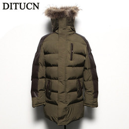 Wholesale New Cotton Coat Fur Collar - Fall-2016 NEW HOT long thick Winter Jacket Men winter Cotton Coats fashion Mens Jacket Casual Thick Outwear For Men coat DITUCN