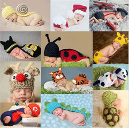 Wholesale Crochet Outfits For Boys - 2016 New Soft Newborn Baby Photography Props Baby Hat Baby Cap Infant Clothes Set Newborn Crochet Outfits For Girls Boys Free shipping