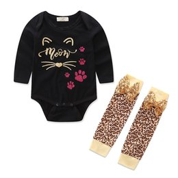 Wholesale Organic Gold Wholesale - 2017 Baby Girls Christmas Outfits Infant Toddler Gold Cat Top Romper + Leopard Bowknot Sequins Kneepad Socks 2PCS Baby Clothing Sets A7322
