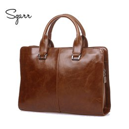 Wholesale Leather Mens Briefcase - Wholesale- SGARR Brand Mens PU Leather Briefcases 14'' Laptop Vintage Crazy Horse PU Leather Business Shoulder Bags Casual messenger bag