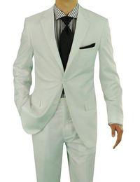 Ternos brancos elegantes da pan on-line-Atacado-Alta Qualidade 2017 New Arrival Elegant Casamento dos homens / Partido Branco Suit One Button (Jacket + Pants + Tie)