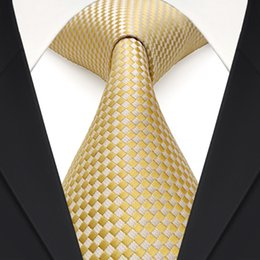 Wholesale Mens Checked Suits - Tie Set F15 Gold Yellow Silver Checked Solid Mens Neckties 100% Silk Jacquard Woven Suit Gift For Men Free Shipping