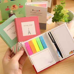 Wholesale Note Stickers - 11.5*8cm 3 Type Convenience Stickers Book With Pen EPISODE DIARY Colored Phosphor Strip Multifunction Sticky Note Loose Leaf Set