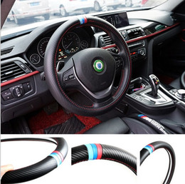 Wholesale Bmw Wheel E39 - 38CM Car Styling Steering Wheel Cover Interior Decor Carbon Fiber Sport Cover For BMW X1 X3 X5 X6 E36 E39 E46 E30 E60 E90 E92