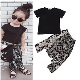 Wholesale Harem Girl Set Pants - PrettyBaby 2016 summer new casual style tollder clothing set black t shirt elephant harem pants girl clothes suit black shirt outfit