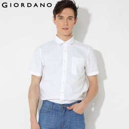 Wholesale Pink Pin Stripes - Wholesale-Giordano Men Shirt Pin-stripes Short Sleeve Oxford Shirt Marque Chemise Homme Overhemd Mens Blouse Office Clothing