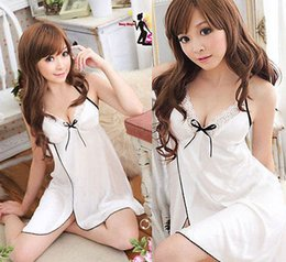 Wholesale Sexy Lingerie Wholesalers - Wholesale-Women Ladies Sexy Lingerie Lace Dress Nightgown White Sleepwear G string