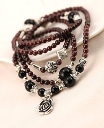 Wholesale Wholesale Thai Handmade - Crystal Bracelet Women Gouache Bracelet Natural Thai Silver Rose Handmade Beaded Jewelry x53