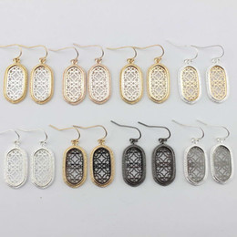 Wholesale Fashion Jewelry Boutiques - Hot Selling Boutique Filigree Oval Dangle Earrings Two Tone Filigree Earrings for Women Fashion Filigree Pattern Statement Jewelry