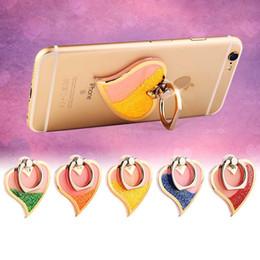 Wholesale Ring Liquid - Rotating 360 Liquid Finger Grip Bling Glitter Heart Universal Cell Phone Luxury Ring Hook Holder Stand For Moblie phone OTH087