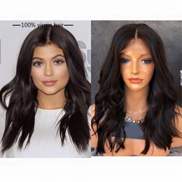 Wholesale New Look Hair - New Design Natural Look Wavy Brazilian Human Hair Glueless Full Lace Wig& Front Lace Wig Free Shipping 130% Natural Color