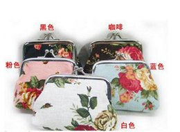 Wholesale Three Dimensional Fabric Flowers - Fashion Hot Vintage flower coin purse canvas key holder wallet hasp small gifts bag clutch handbag