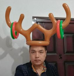 рождественские кольца для новинок Скидка Надувные оленьи рога кольцо шляпа бросить игру игрушка для детей дети рождественские украшения праздничная вечеринка новинка игры питания