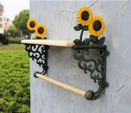 Wholesale Wrought Iron Metal Shelf - Country Sunflower Wrought Iron Towel Rack With Shelf Bath Accessories Towel Holder Free Shipping Cast Iron Craft Home Decor
