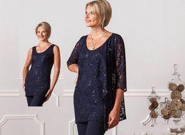 2019 vestidos de tamanho 12 para mulheres 2017 Nova Moda Formal Pant Ternos Para As Mães de Noiva Personalizado Plus Size Mãe Do Noivo Vestidos Lace Womens Azul Marinho Vestidos À Noite vestidos de tamanho 12 para mulheres barato