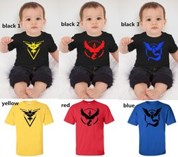 Wholesale Turtle Neck Girls Shirts - Baby Poke Pattern T-shirts 6 colors Boys girls Pikachu Jeni turtle Charmander Squirtle Print Short sleeve T-shirts multicolor EMS free ship