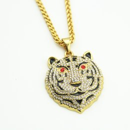 Wholesale Gold Tiger Jewelry - Hot Sale New Tiger Head Crystal Necklace Street Wind Heavy Drill Full Diamond Hip hop Jewelry Pendant