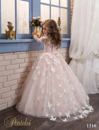 Wholesale Christmas Butterfly Images - Butterfly Flower Girls Dresses 2017 Pentelei with Long Sleeves and Crew Neck Appliques Blush Pink Little Girls Prom Gowns