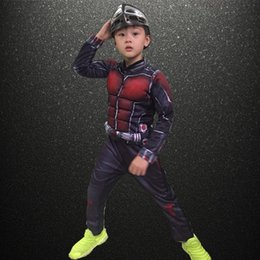 Wholesale Child S Mask - Halloween party cosplay children the avengers Ant-Man muscle costume Ant man mask clothes clothing for kid Free Shipping