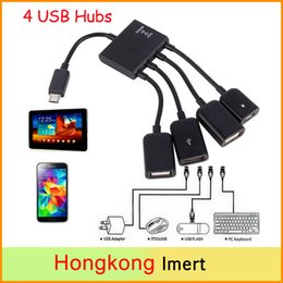 Wholesale Usb Cable Spliter - Hot OTG Hub Cable Connector Spliter 4 Port Micro USB For Smartphone Computer Tablet PC Free DHL