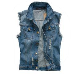 Wholesale Mens Cotton Washed Jackets - Fall-2016 Fashion Mens Denim Vest Vintage Sleeveless washed jeans waistcoat Man Cowboy ripped HIp Hop Jacket Plus Size 5XL 6XL,YA211