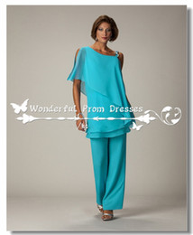 Wholesale Turquoise Drape Chiffon Dress - Latest Turquoise Chiffon Mother Of The Bride Pant Suits Custom Made Cheap Women Formal Evening Outfits Ladies Trousers Suit Plus Size