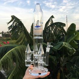 12 percolator bong on-line-Grande bongo foguete tubos de água de vidro de 17 polegada bongs inebriantes quatro percolator percus narguilé 18.8mm tigelas de vidro plataformas de petróleo 12 braço da árvore