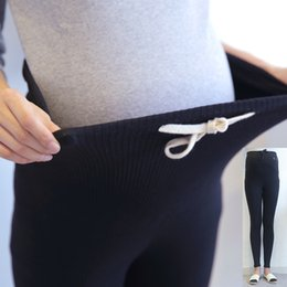 Wholesale Doll Leggings - Autumn winter Drawstring High Waist Maternity Leggings for Pregnant Women Doll Pregnancy Leggings Pants Maternity Clothes