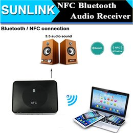 Wholesale Iphone Stereo Systems - NFC Bluetooth Audio Receiver Home Stereo System Portable Speaker NFC-Enabled HD Wireless Music Adapter for iPhone Tablet PC