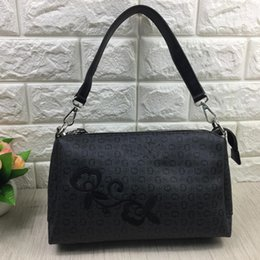 Wholesale Hobos Bags - Free shipping-new arrival blk and grey letter pu embroidery shoulder bag